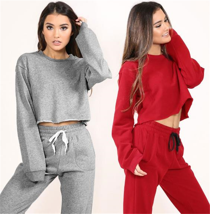 Women tracksuit sportswear two pieces set long sleeve sweatshirt tops+ pants set fitness clothing casual women's set
