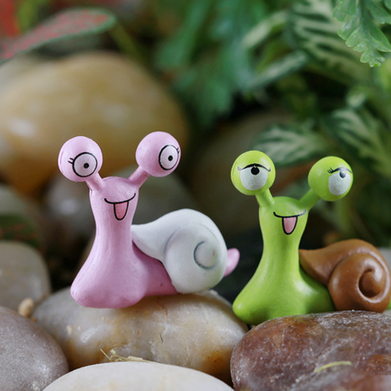 10pcs cartoon snails fairy garden miniatures figurines for Figurine decoration jardin