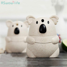 Cartoon Koala Wheat Straw Manual Press Automatic Toothpick Canister Living Room Box Dispenser Pressing Type