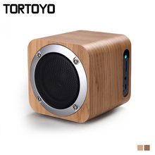 Mini 6W Portable Wireless Bluetooth 4.0 Wooden Speaker Stereo Subwoofer Support TF Card FM Radio Aux Phone Wood Speakers for PC
