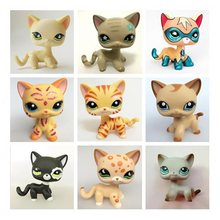 Really rare pet shop lps toy action standing collection short hair cat white pink black orange tiger cat lps dog dachshund colli(China)