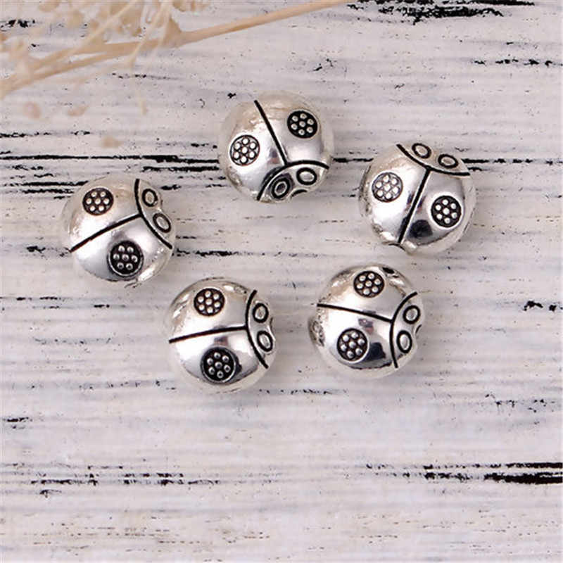 "DoreenBeads à Base de Liga de Zinco Spacer Beads Joaninha Animal Antique Silver 9mm (3/8 "") x 9mm (3/8 ""), Buraco: Aprox 1.4mm, 10 pcs"