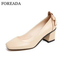 FOREADA Genuine Leather Shoes Women Pumps High Heels Bow Square Toe Pumps Chunky High Heel Shoes Apricot Black Plus Size 9 41 42
