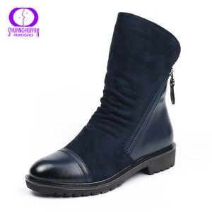 Image 2 - AIMEIGAO ファッションスエード革のブーツフラットミッドカーフブーツ春秋の女性のブーツ黒青靴