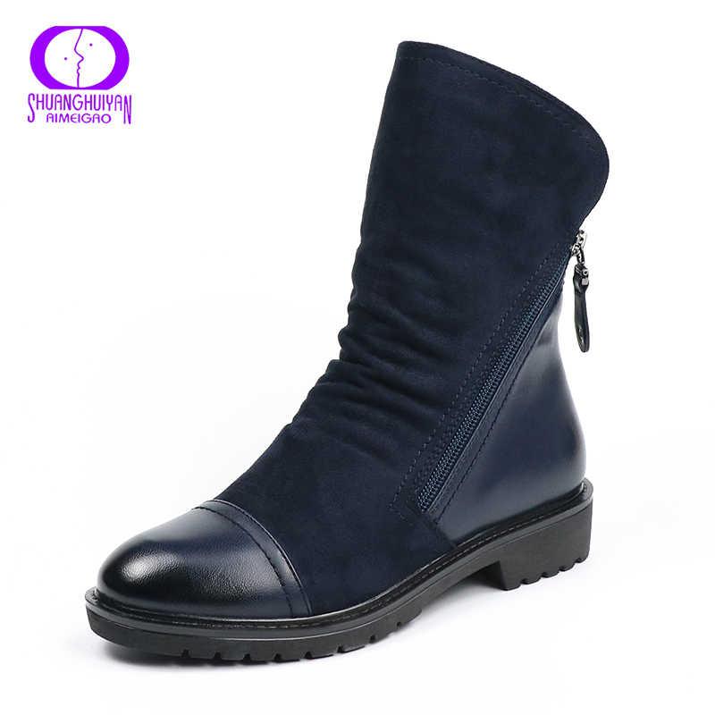 Aimeigao Da Lộn Thời Trang Da Bò Nữ Giả Da Lộn Phẳng Giữa Bắp Chân Giày Mùa Xuân, Mùa Thu Giày Bốt Nữ Màu Xanh Đen giày