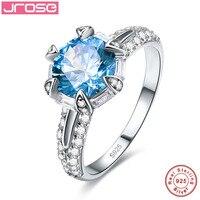 Jrose 100% טבעת כסף, 925 סטנדרטי CZ סט טופר אור כחול, מתנה לחג יכולה להיות סיטונאי, כמות גדולה לטובה