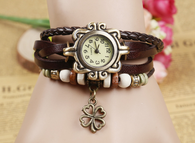 Fashion Women Bracelet Vintage Weave Wrap Quartz Cow Leather Clover Beads Wrist Watches lady watch Relojes Mujer kow065 women four leaf clover weave pendant bracelet wrist watch