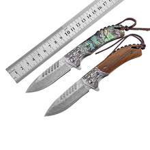 New Damascus folding knife wooden handle bearing tumbling pocket camping EDC outdoor equipment tactical Mens gift