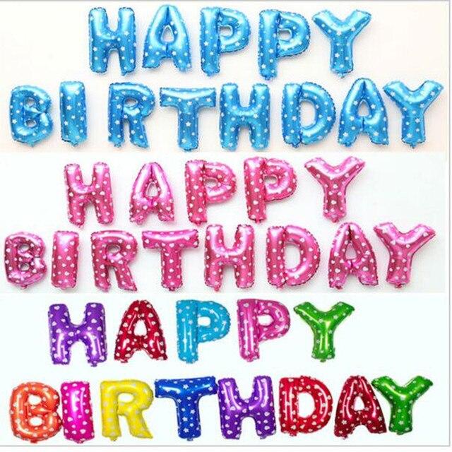 Bunte Folienballons Silber Gold Rosa Blau Happy Birthday Balloons Brief Balls Geburtstag Partydekorationen Kinder Ballon 13