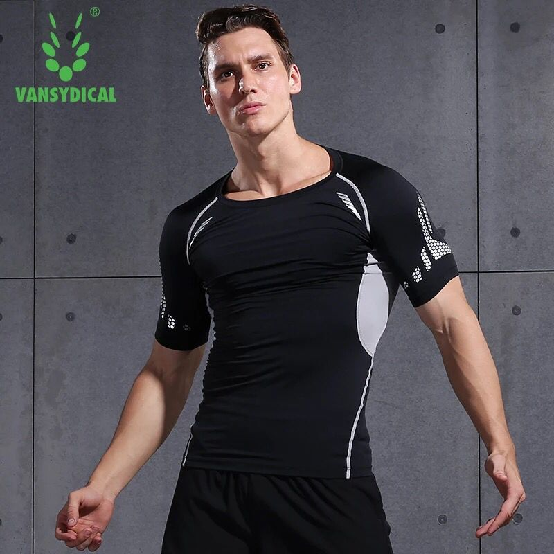 Vansydical Mens Jogging Running T-Shirt Breathable Fitness Tops Sports Shirt Muscle Gym Bodybuilding Compression Tights Tees