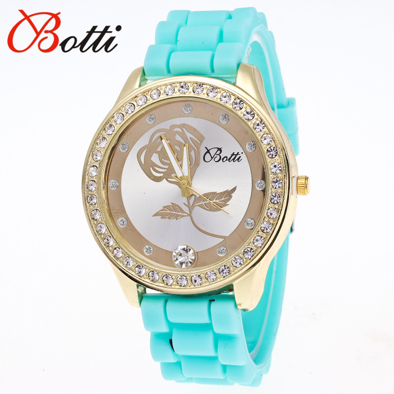 11.11 Hot Sale New Luxury Brand Silicone Watch Women Dress Quartz Watch Rose Flower Rhinestone Bracelet Watches Relogio Feminino цена