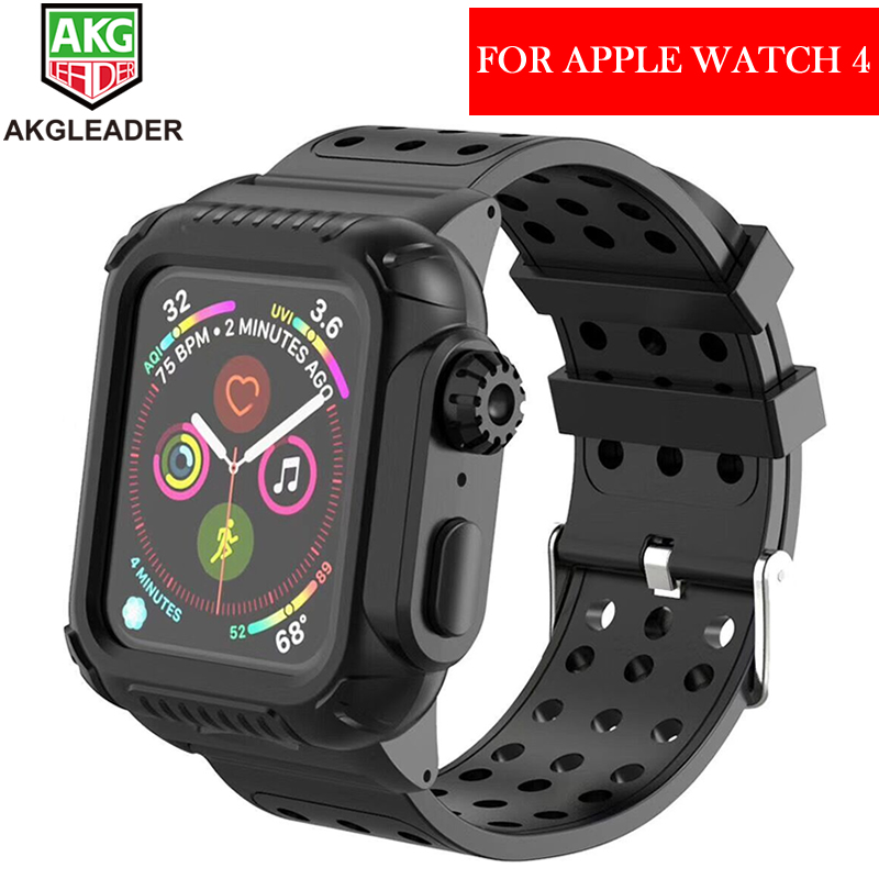 save off ee589 c85c4 US $17.91 10% OFF|Newest For Apple Watch 4 40 44mm Life Waterproof Silicone  Sport Band For Apple Watch Series 4 Strap With Protective Case-in ...