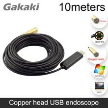 Gakaki usb 14mm 10 m comprimento mini à prova dmini água snake pipe cam endoscópio inspeção câmera endoscópio com 4 led luz