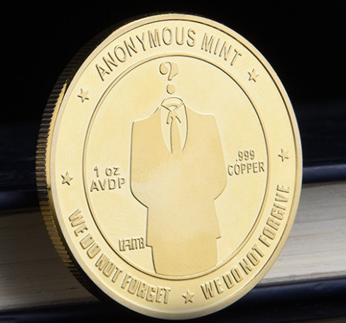 Gold Plated Anonymous Mint Bitcoin Commemorative Coins Collection Souvenir Gift