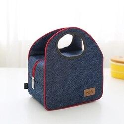 Новая модная джинсовая сумка для обеда, повседневная Термосумка для женщин, детей или мужчин, изолированная сумка для обеда, сумка для пикни...