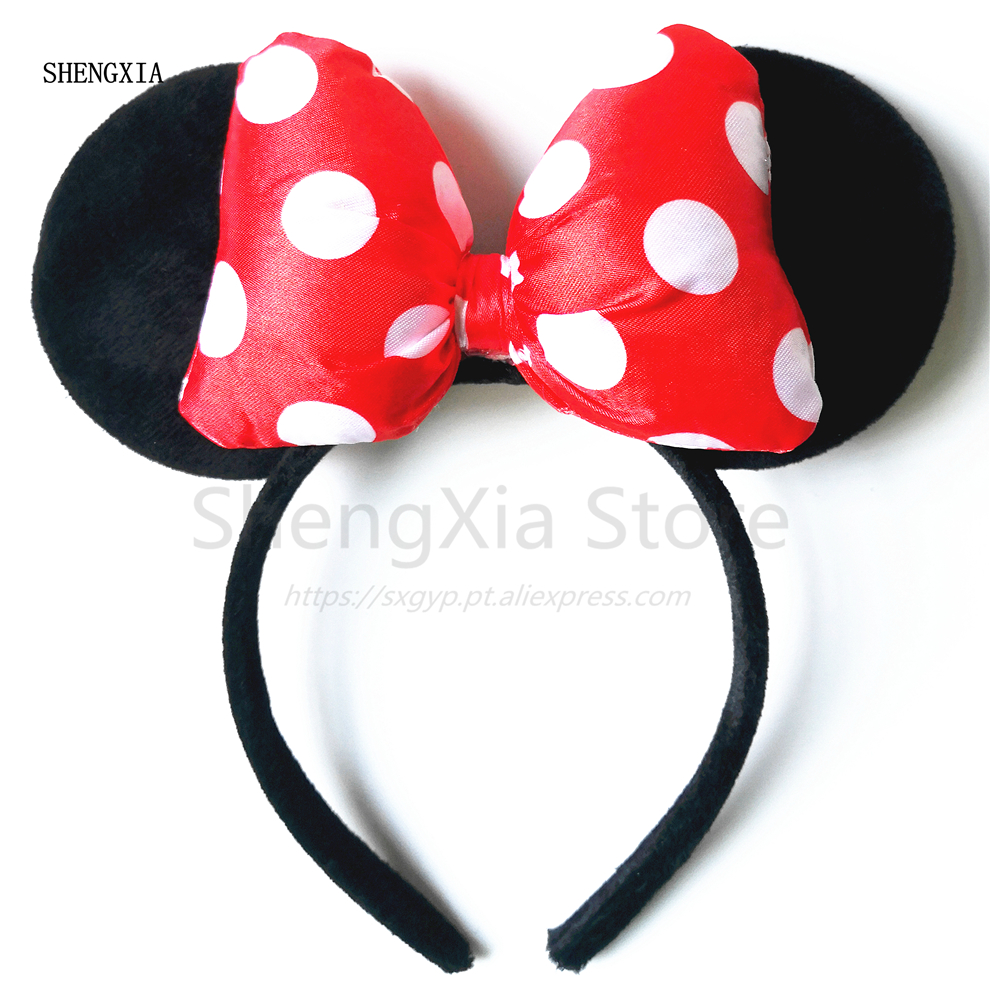 Headband For Girls Mickey Minnie Mouse Birthday Party Gift mouse ears Minnie Mouse Ears Hairband Women Kids Hair Accessories in Christmas Headbands from Home Garden