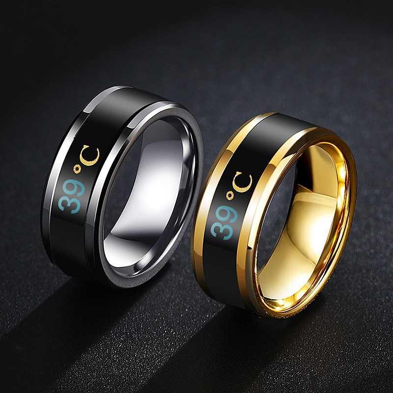 Mode température mesure anneau intelligent température détection changement bijoux hommes et femmes vacances cadeau bijoux