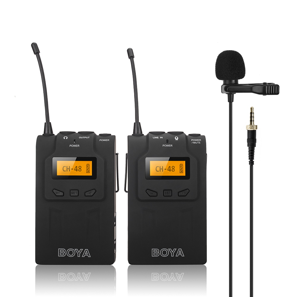 boya by wm6 omni directional lavalier microphone uhf wireless microphone system for eng efp dv. Black Bedroom Furniture Sets. Home Design Ideas