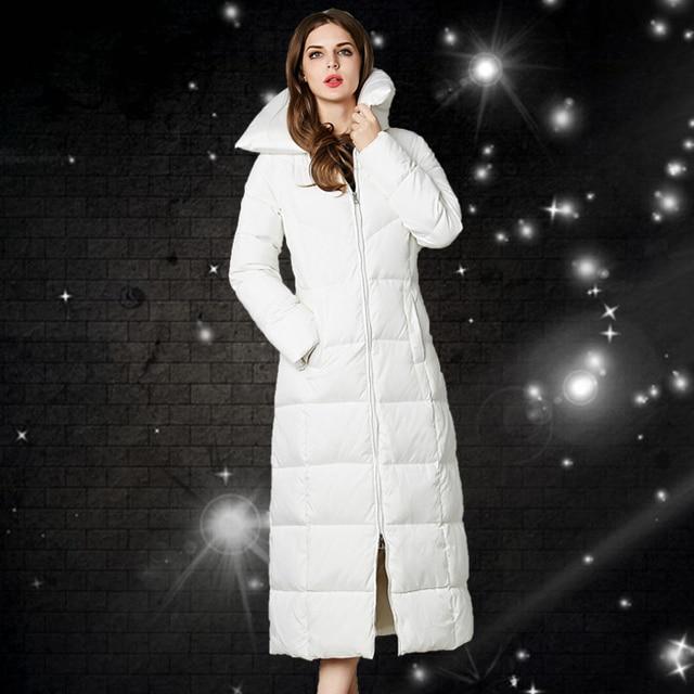 Lange Winterjas Zwart.Wit Ganzendons Winterjas Vrouwen Mooi Nieuwe X Lange Winterjas