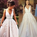 Prom Dresses 2017 Women Formal Evening Party Gown Pageant Dress A Line Deep V Neck Backless Tulle Lace
