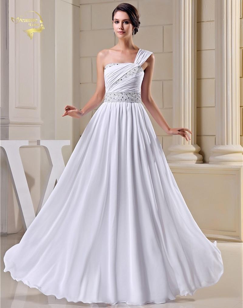 Baru ketibaan reka bentuk fesyen pakaian perkahwinan vintaj 2019 manik satu bahu pengantin gaun putih gading vestidos de noiva nr33094