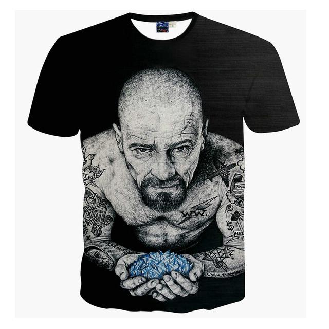 Harajuku Mulheres Homens Do Vintage camisas Pretas de t t Quebrar Ruim Heisenberg camiseta 3d Engraçado Tatuagem Homens camisetas casuais tee camisas
