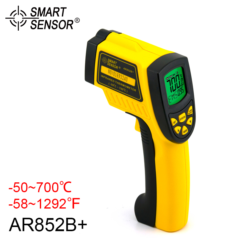 цены Digital Infrared Thermometer Handheld Non Contact Infrared Pyrometer Gauge LCD Display With Backlight AR852B+ -50~700C