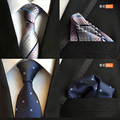 QXY mens fashion tie handkerchief for tie set men neckties business polyester silk ties pocket square classic kerchief T056