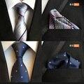 QXY moda hombre corbata pañuelo para tie set hombres corbatas de poliéster seda corbatas de seda pañuelo de bolsillo cuadrado clásico T056