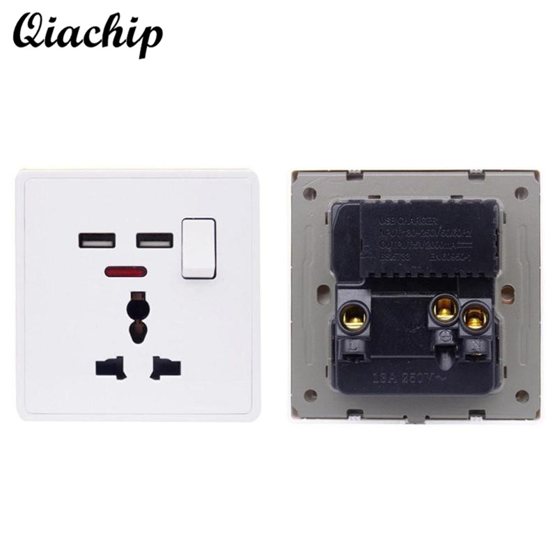 QIACHIP UK Plug Low Power Socket Universal 86 Wall Socket USB Switch Outlet LED Indicator For Smart Home Remote Control Switch scinder switched socket package 15 steel frame two or three five hole electrical outlet wall switch panel switch