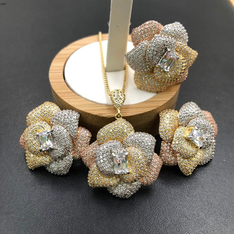 Набор ювелирных изделий Lanyika, роскошные стильные нестандартные цветы, ожерелье с циркониевым покрытием, серьги и кольцо, модные подарки на свадьбу|Ювелирные наборы| | АлиЭкспресс