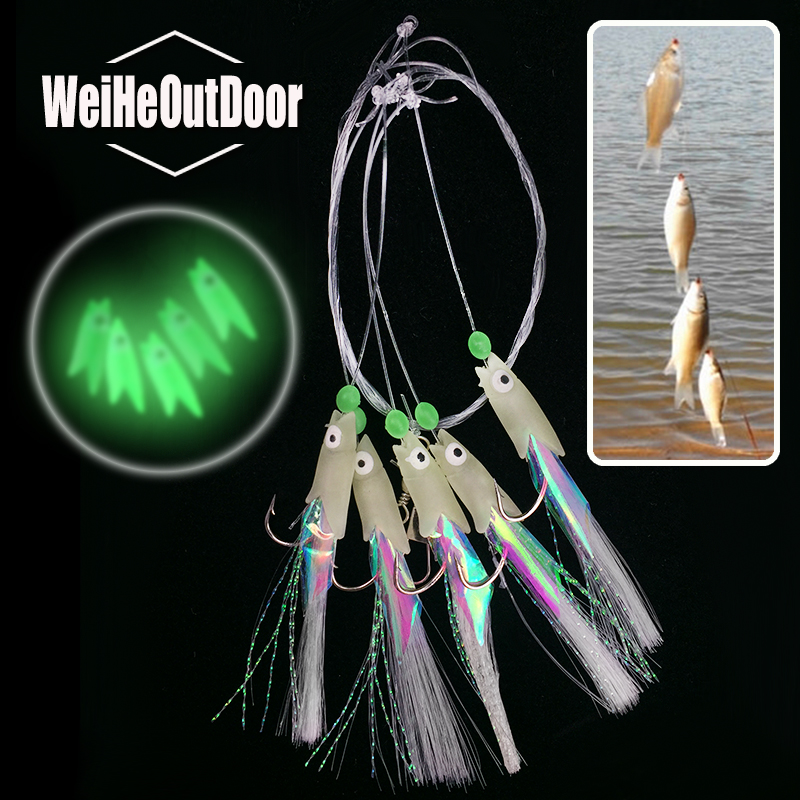 5Packs 5 Types Sabiki Soft Fishing Lure Rigs ISE Luminous Fish Head String Hook Soft Bait Artificial Lure Worn Fake lure Pesca 10 packs 60pcs 10 20 freshwater saltwater sabiki rigs sea fishing sabiki fish skin baits rigs fishing lures