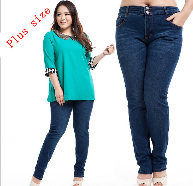 Aliexpress.com : Buy big girl fat jeans plus size mid waist demin ...