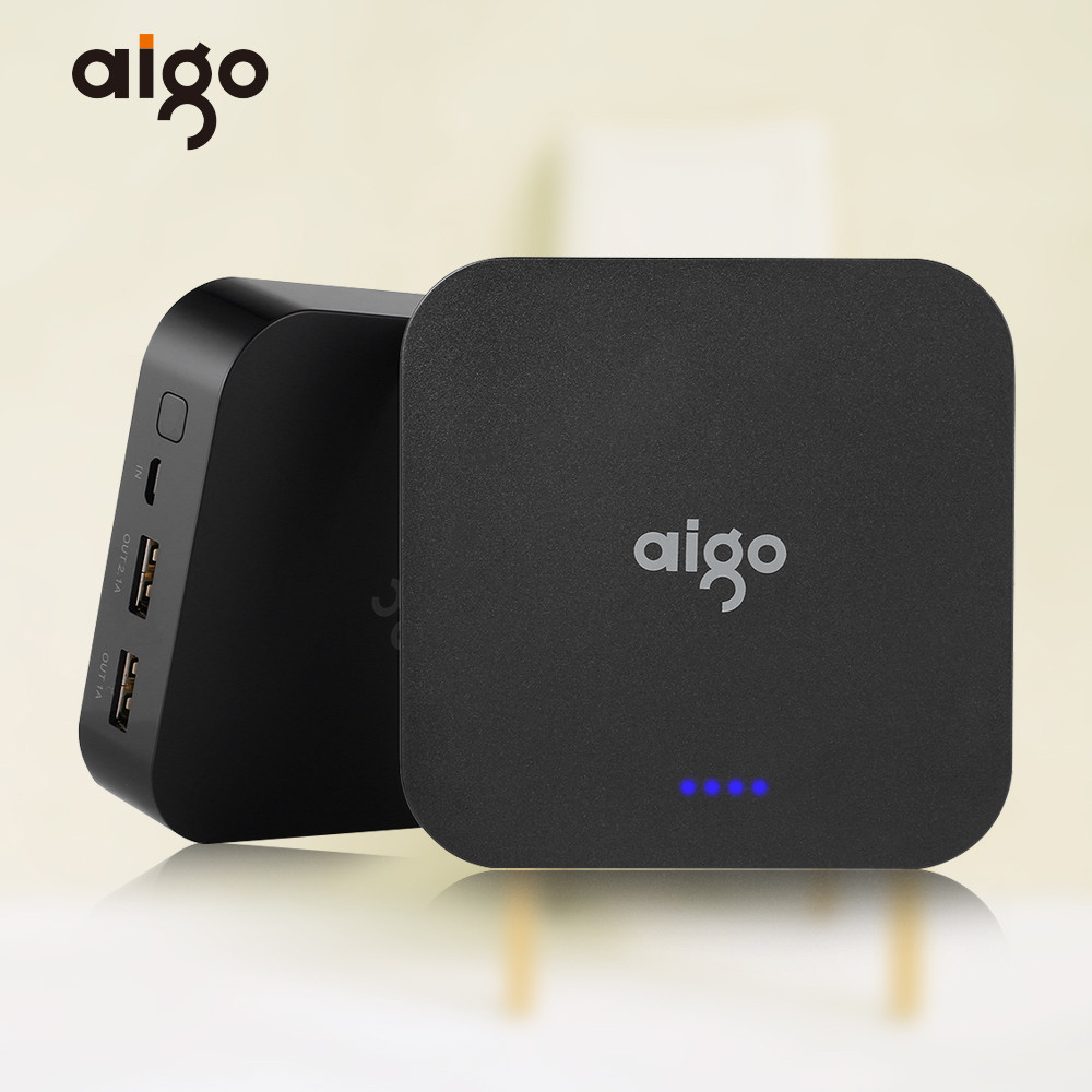 Aigo Mini Real Capacity 10000mAh Powerbank 3.7V LED Indicator Large Battery Power Pank Dual USB Port Mobile Charger for Iphone ...