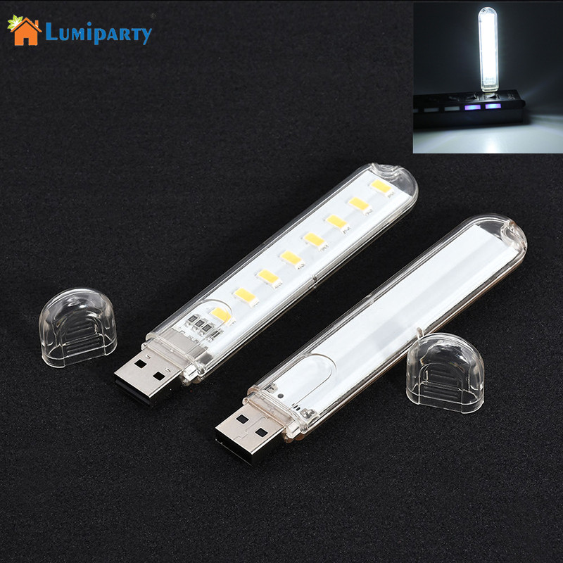 LumiParty Portable Mini USB Power 8 LED Night Light 5V Reading Lamp for Power Bank Lapto ...