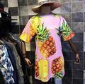New dress 2017 cor grafite impressão digital de frutas abacaxi das mulheres coreanas curto-sleeved dress feminino