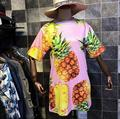 Nueva dress 2017 color de las mujeres coreanas de graffiti fruta piña impresión digital de manga corta dress mujer