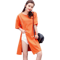 Summer Women Dress Solid Vestido Ladies Fashion Cloak Sleeve Dresses Zipper Asymmetry Casual Frocks Plus Size Loose Dress CM2882