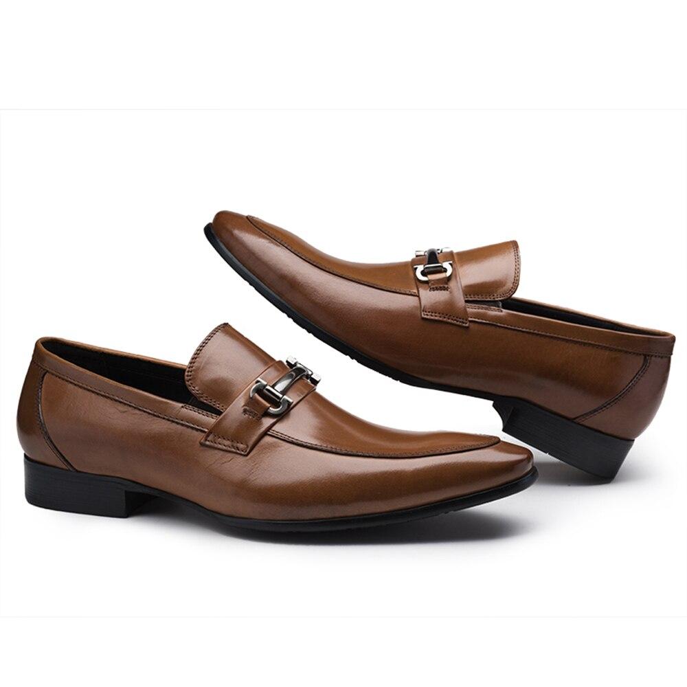 Decoração marrom Homens De Dos Tan Topsiders Plano Preto Fundo Sipriks Preto Com Negócio Couro Novo Genuíno Vestido Sapatos Metal Deslizamento Em Sapatas 78nP0q1