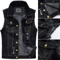 Big Size Male Ripped Vintage Black Sleeveless Jean Jacket Men Motorcycle Cowboy Denim Vest Men Plus Size 4XL,5XL