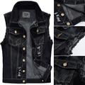 Big Size Male Ripped Vintage Black Sleeveless Jean Jacket Men Motorcycle Cowboy Denim Vest Men Plus Size 4XL,5XL