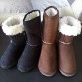 2016 Diseño Clásico Rebaño Invierno Nieve Botas Mujer antideslizantes Planos de la Señora Zapatos de Nieve Negro