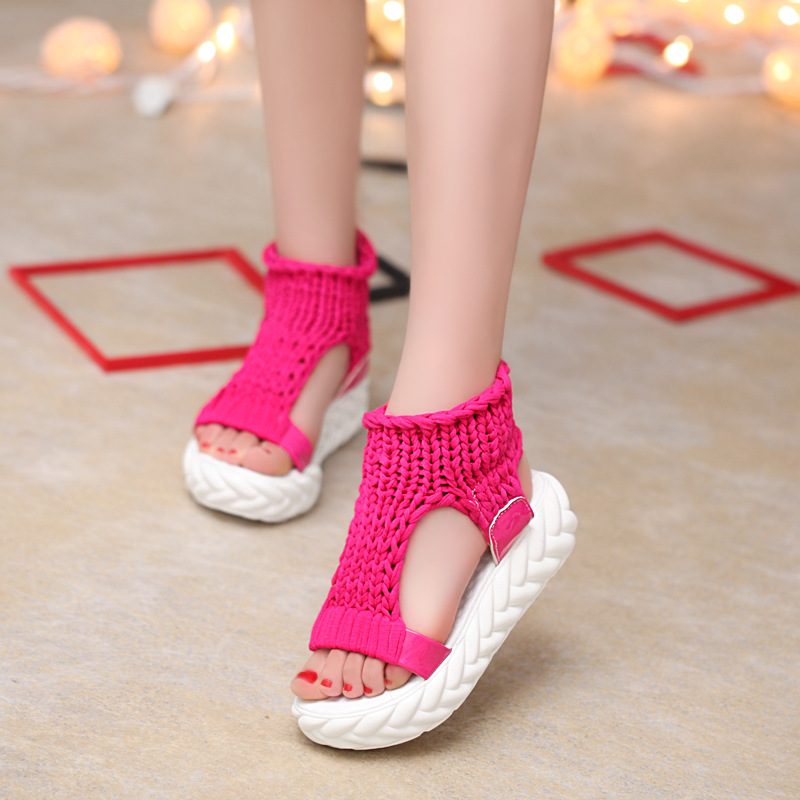 Woman Summer Fashion Female Sandals Vintage Casual Wedges Platform Shoes Peep Toe Sandal High Heels Fish Toe Shoes Zapatos Mujer lucyever women casual peep toe shoes thick platform creepers sandals woman fashion wedges high heels stars summer shoes