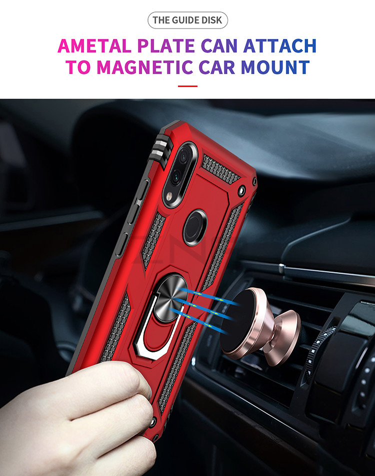 ZNP Luxury Armor Stand Case For Xiaomi And Redmi Note 7 8 Pro With Magnetic Ring Holder 7
