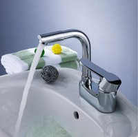 All copper double holes basin faucet undercounter rotating cold hot wash lavatory faucet face