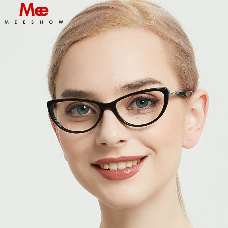Acetate Cat Eye Glasses Frame Women Optical Glasses Retro Clear Eye Glasses Women Men's Acetate Alloy Myopia Spectacles Frames 1
