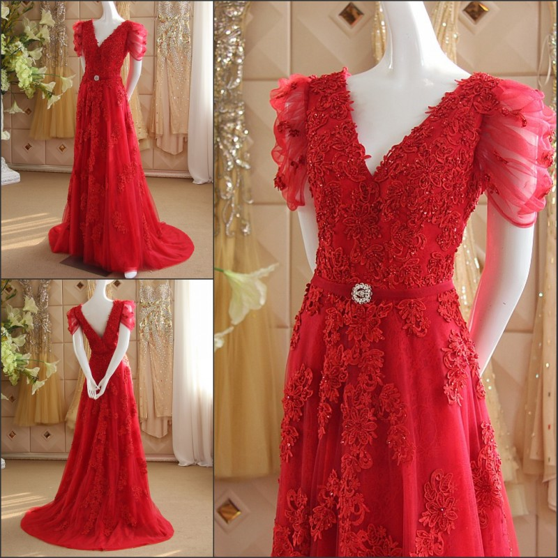 Sexy Backless Short Sleeve Lace Appliques Crystal Evening Gown 2018 Robe De Soiree Vestido De Festa Mother Of The Bride Dresses