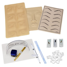 Постоянный Макияж microblading татуировки брови комплект Ручка иглы паста кожи правитель f802