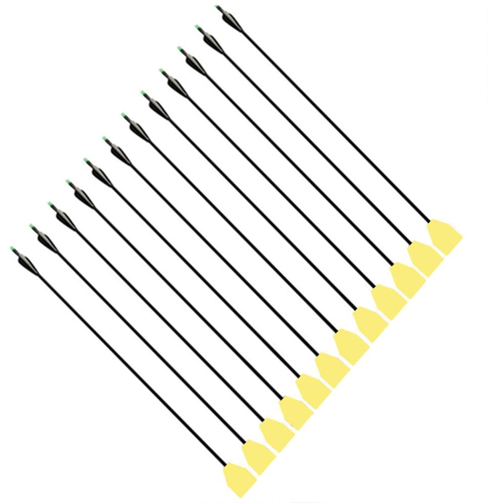 12PK Foam Broadhead + 33 Long Fiberglass Arrows for Recurve/Compound Bows Hunting Parctice