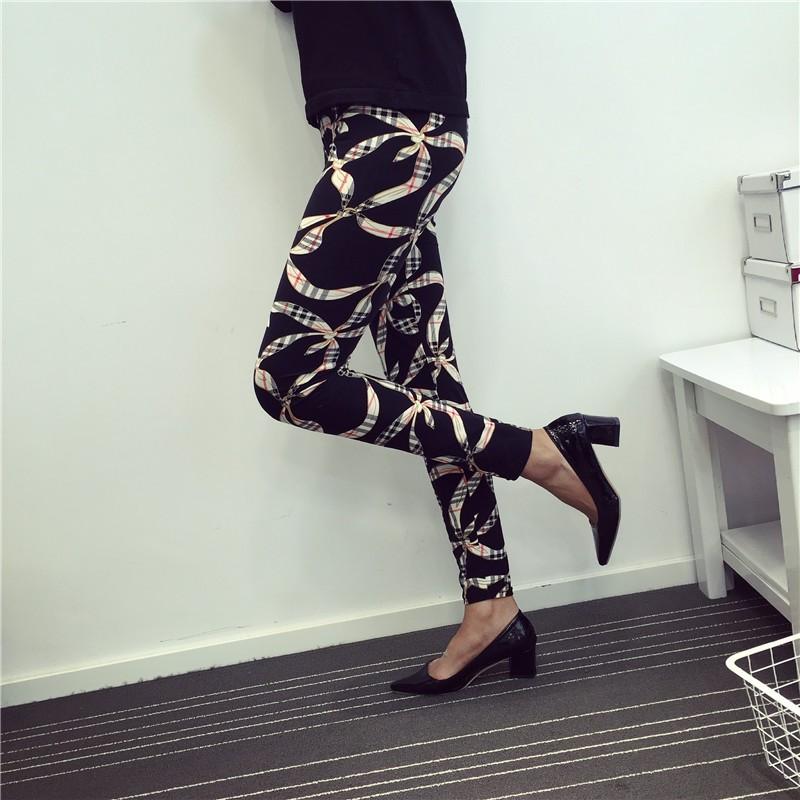 BIVIGAOS Spring Summer Womens Fashion Black Milk Thin Stretch leggings Colored Stars Graffiti Slim Skinny Leggings Pants Female 43